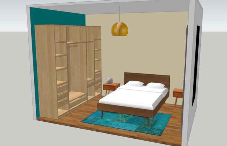 Décoration intérieure d'une chambre en 3D